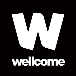 Logo for the Wellcome Trust: A white W on a black background with Wellcome written in white below the W.