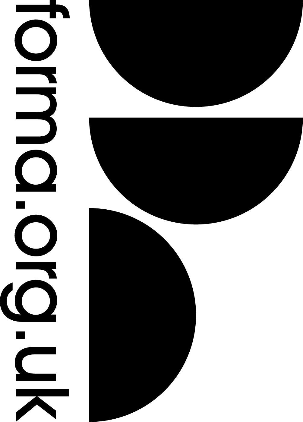 logo for Forma. Website forma.org.uk running vertically against three semi-circles.