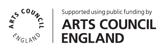 Art Council England Logo. Logo reads Supported using public funding by Arts Council England