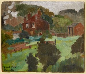 Oil painting of a house in the distant with trees and a field in the foreground.