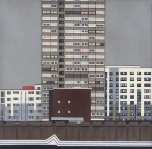 Painting of tower blocks.