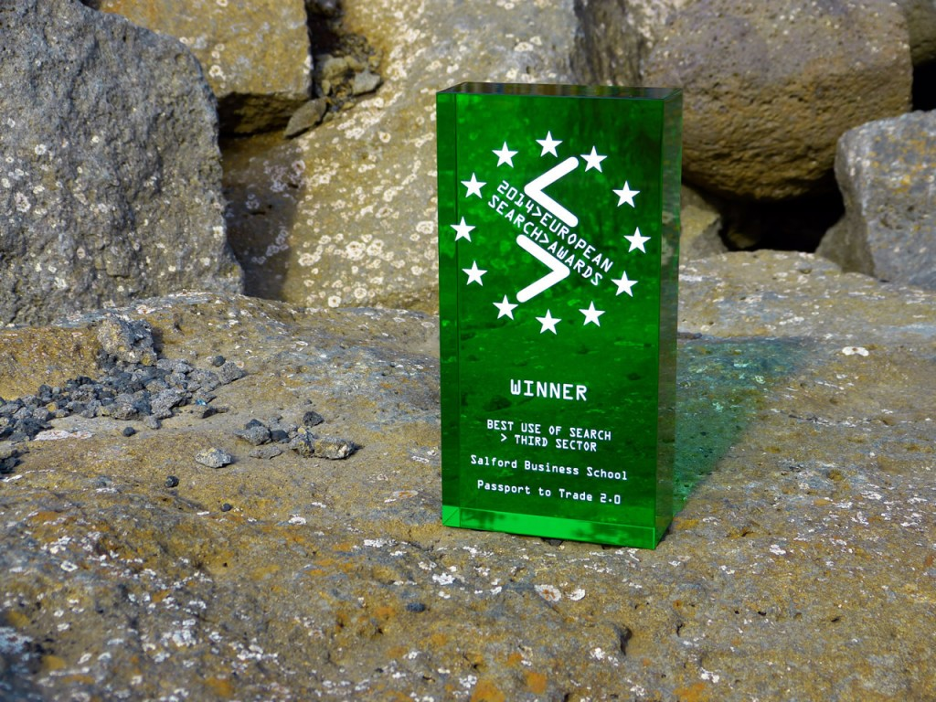 European Search Award winners trophy on an Icelandic roc