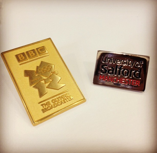 London 2012 Summer Olympics and University of Salford graduate pins