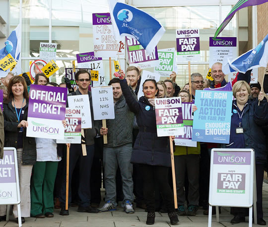 Pickets at Norfolk and Norwich University Hospital during the second 4 hour pay strike (CC) by  Roger Blackwell