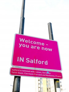 Welcome to Salford road sign