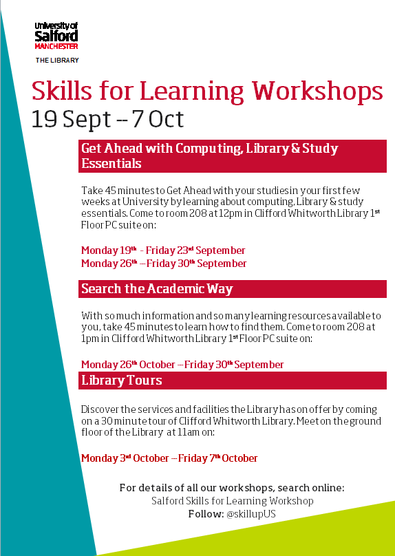 All the dates and times of the Library events to help you get set for studying.