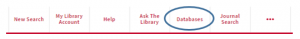 Picture of Library search menu showing database tab.