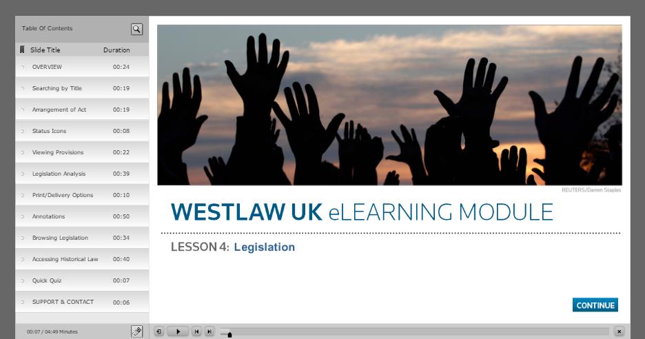 Westlaw legislation elearning module