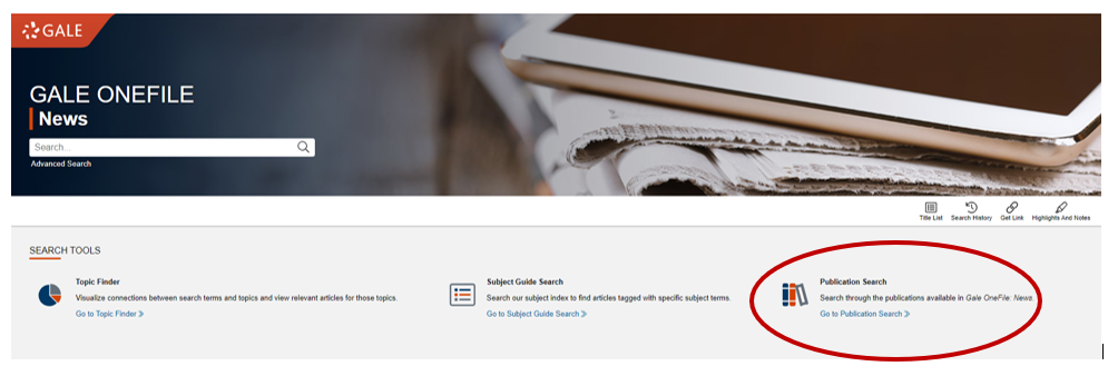 Image to show the publications tab in Newwstand.