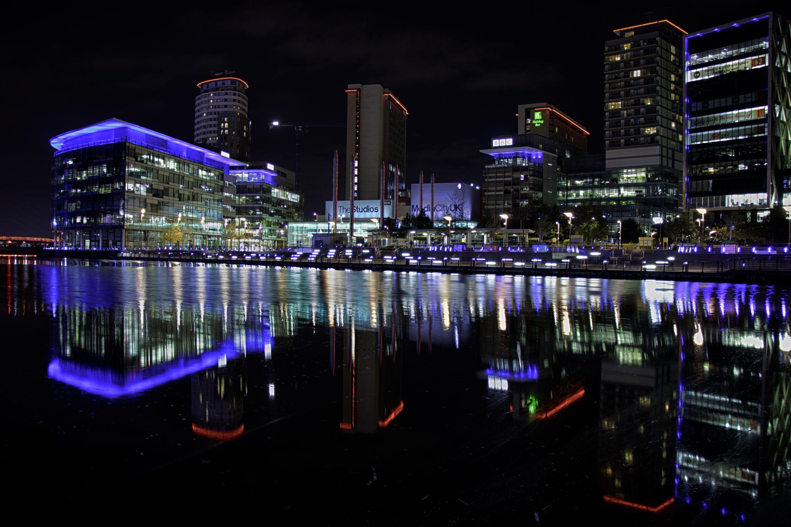 A night time shot of MediaCityUK