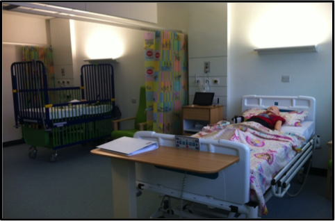 Children's simulation room, SimNewB® and SimJunior® having a rest