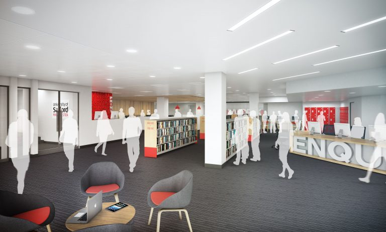 Artists impression of University of Salford's Clifford Whitworth Library after development