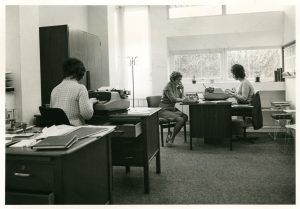 Mrs Hobson, Mrs Hick and Miss Barratt in Clifford Whitworth library general office, 1971.