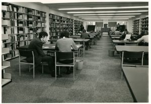 Clifford Whitworth library first floor, 1971.