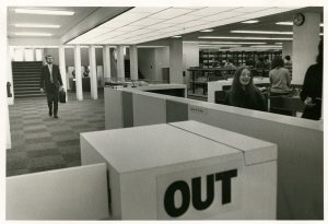 Clifford Whitworth library ground floor control desk, 1971.