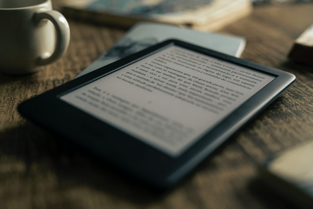 A kindle with an e-book open - representing access to resources in alternative formats