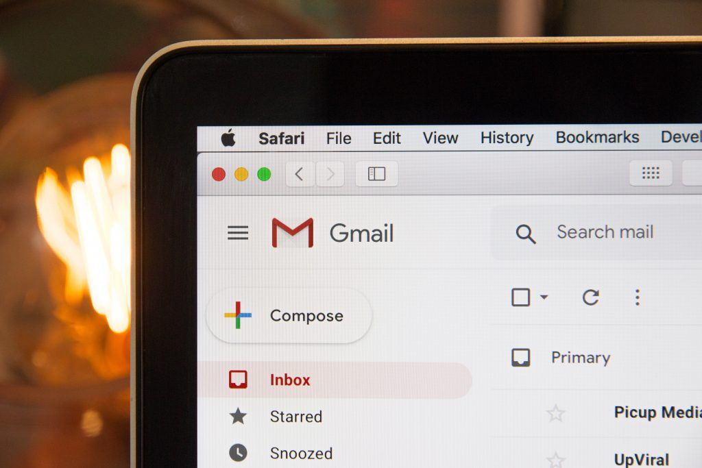 Screenshot of GMail, representing the fact enquiries can be emails to the library
