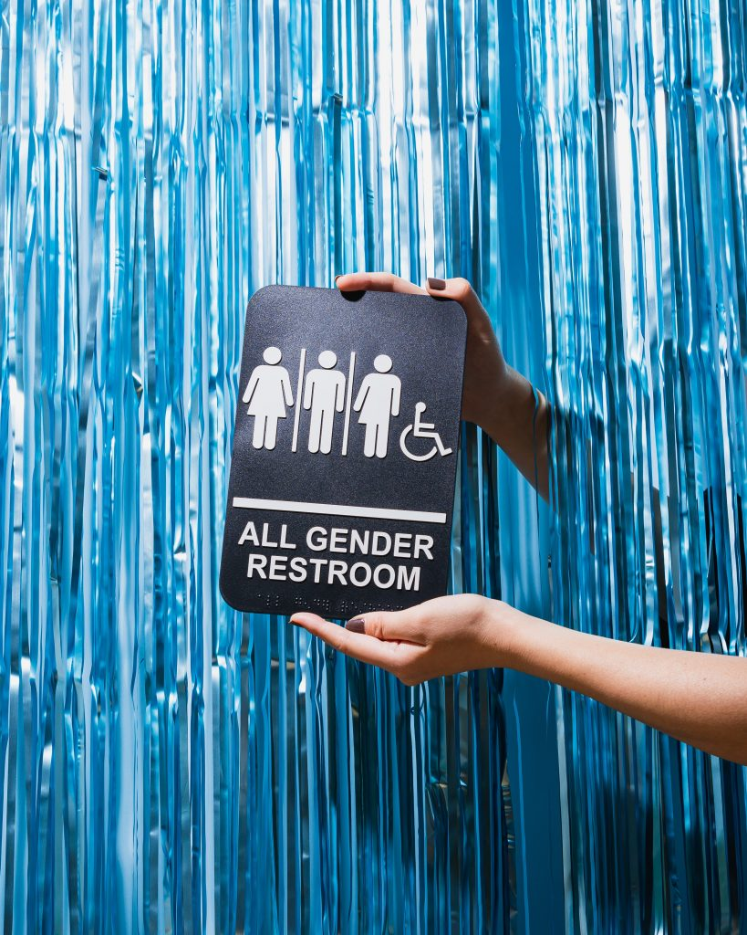 Sign displaying all gender access for public bathrooms