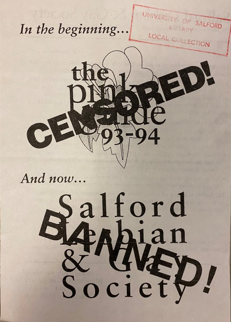 An excerpt of a leaflet from the Pink Guide, covered with two large 'censored' stamps.