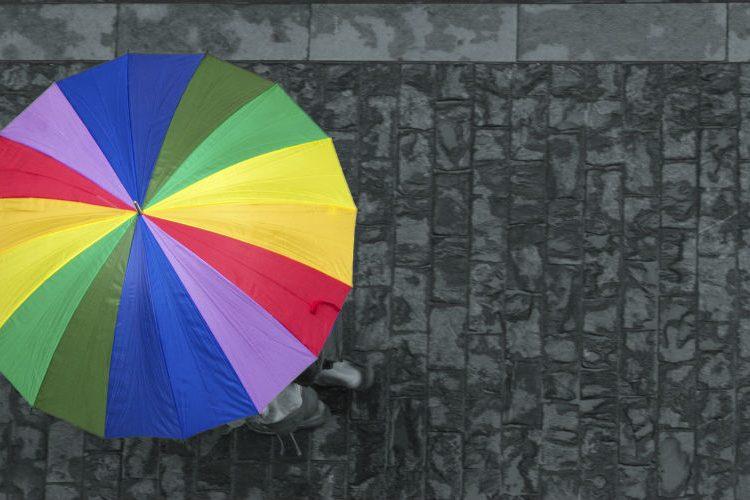 Multi-coloured umbrella