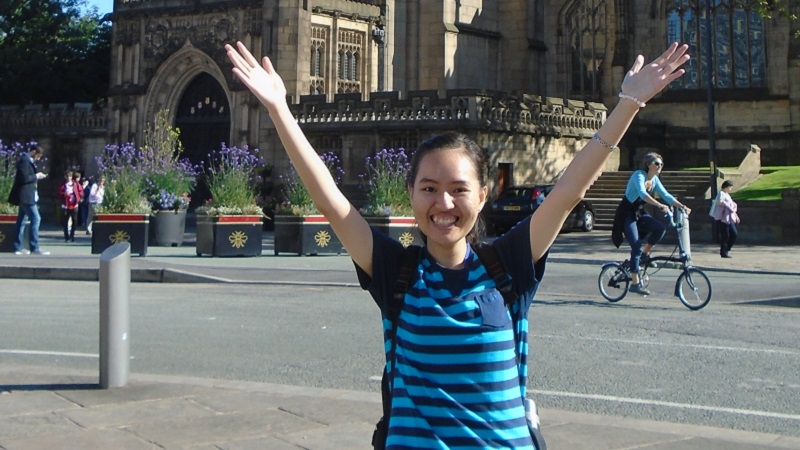 Image: Anh in front of Manchester Cathedral