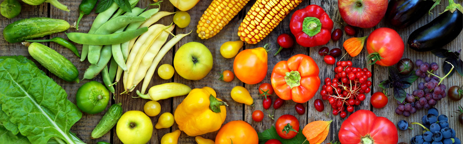 Image: colourful selection of fruit and vegetables