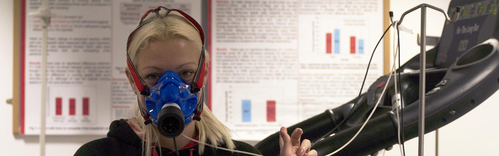 Rebecca Murray wearing an oxygen mask