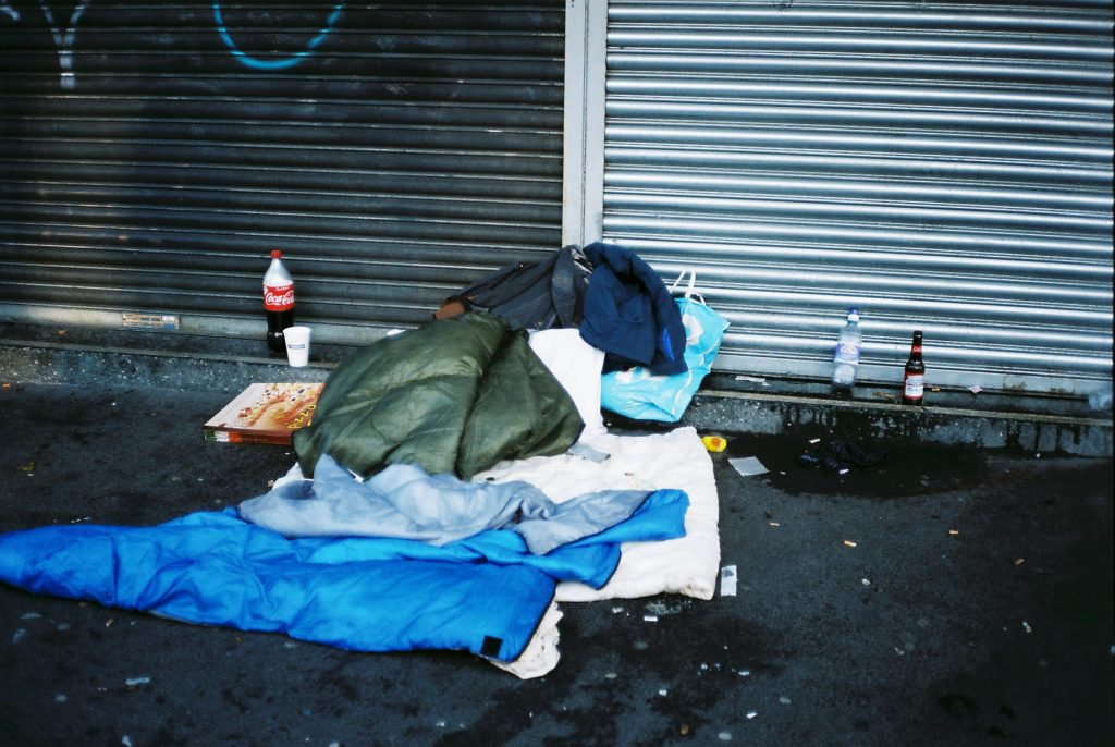 Image: Sleeping bags on the street
