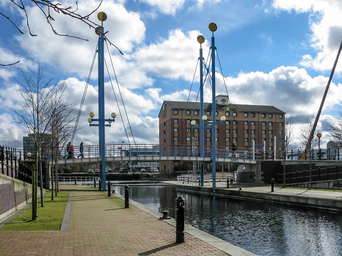 Salford quays bridge at Marinars canal.
