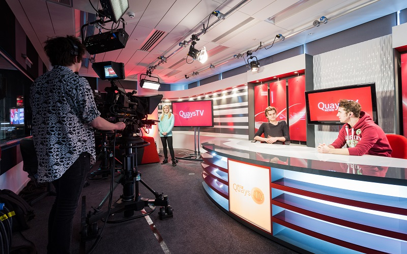 Quays students in the TV studio
