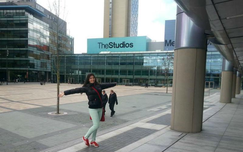 Journalism student Anna in MediaCityUK campus