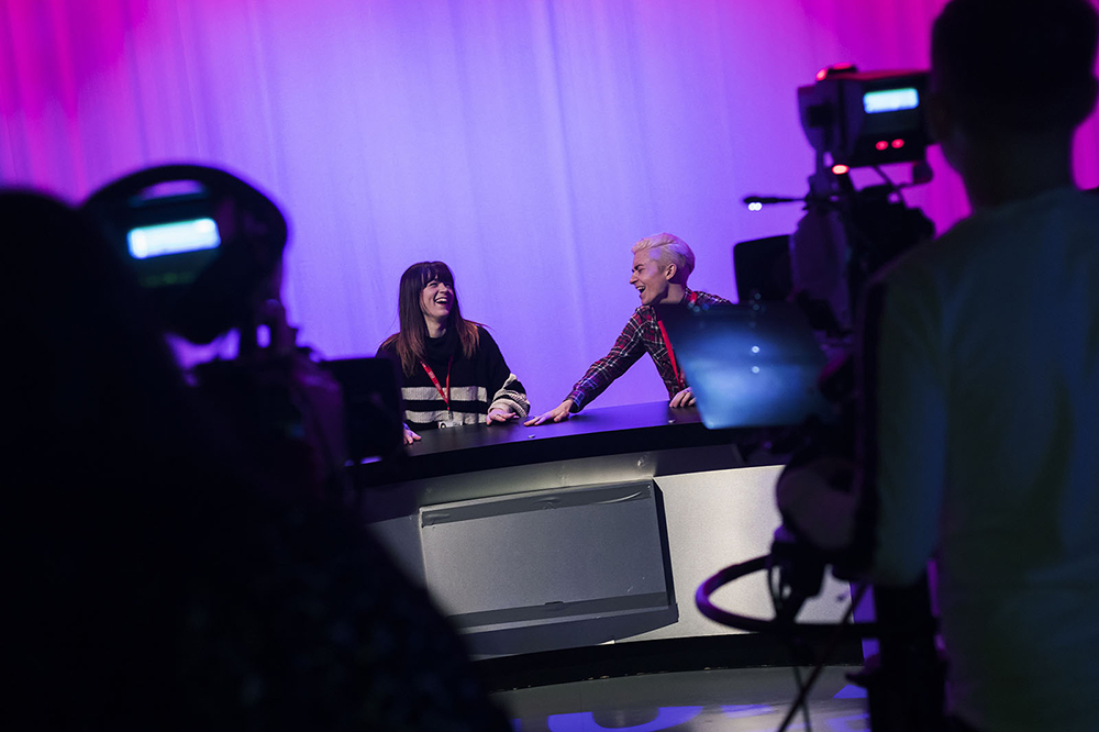 Image: Students in the TV studio