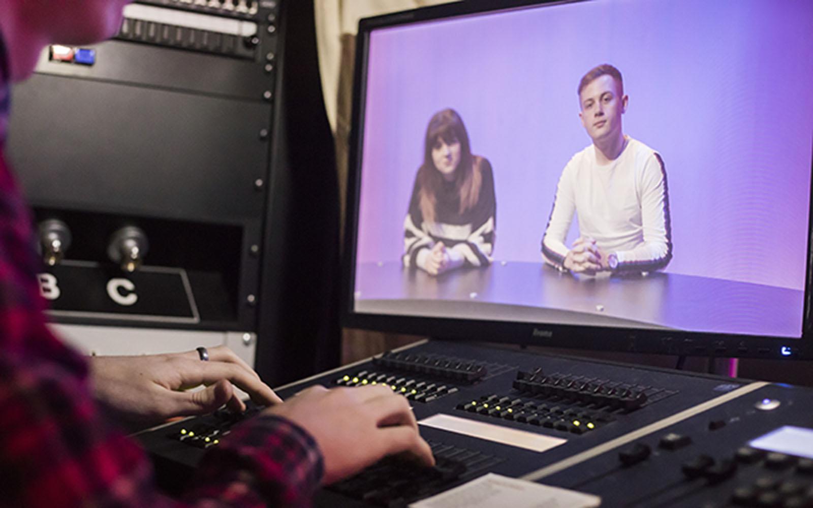 Image: Rhys and Seren in TV Studios