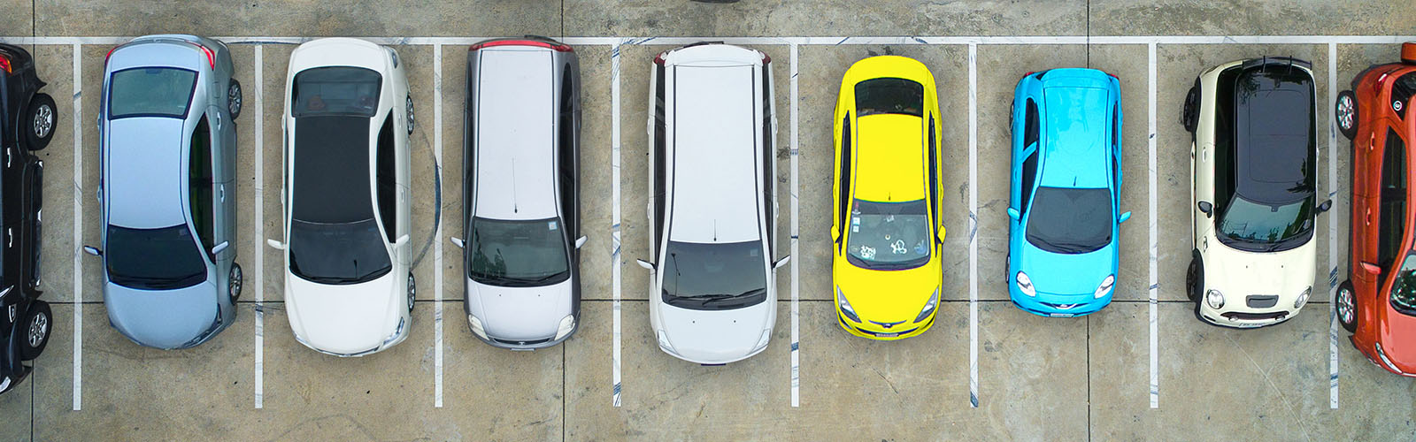 Image: Empty parking lots, aerial view.