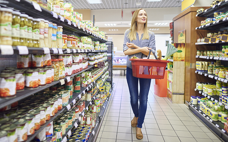 Image: Woman looking for groceries