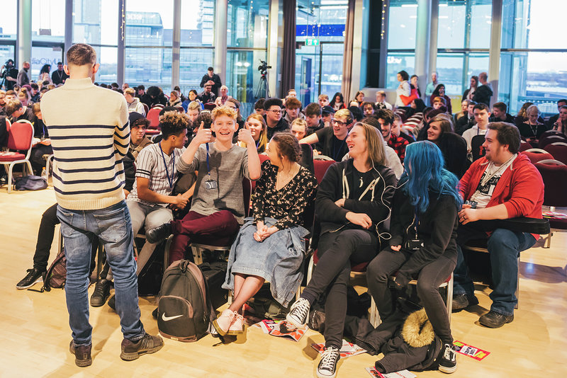 Image: Group of school students at NME Lifehacks in audience