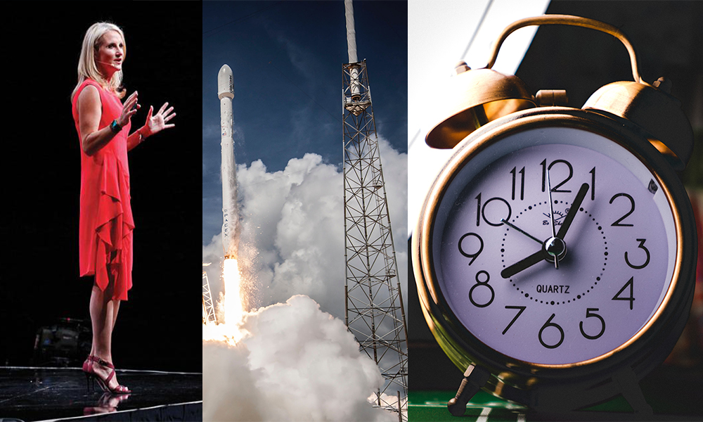 Collage of Mel Robbin, a shuttle taking off and an alarm clock