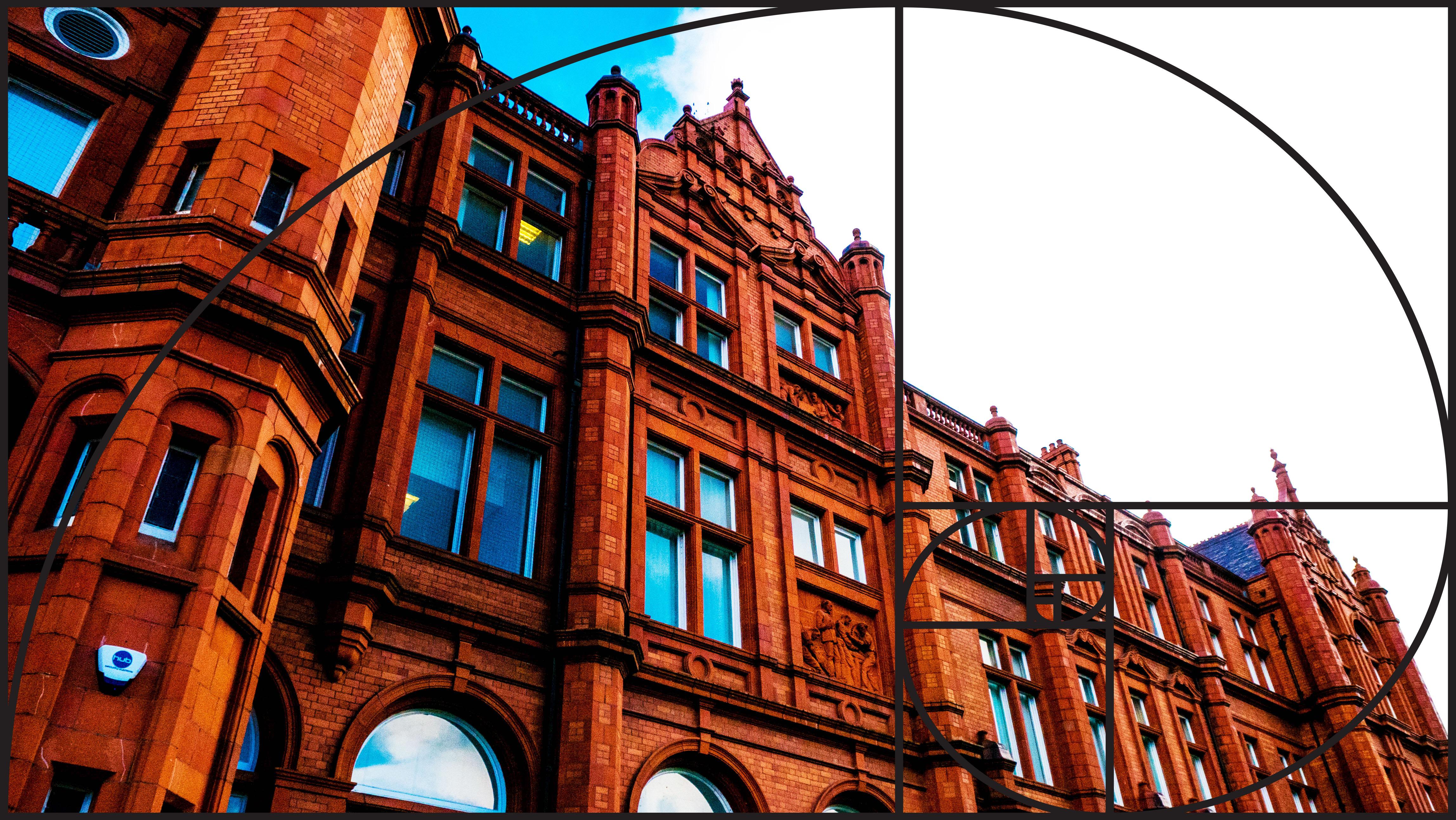 Image: Peel Building with Fibonacci Spiral template