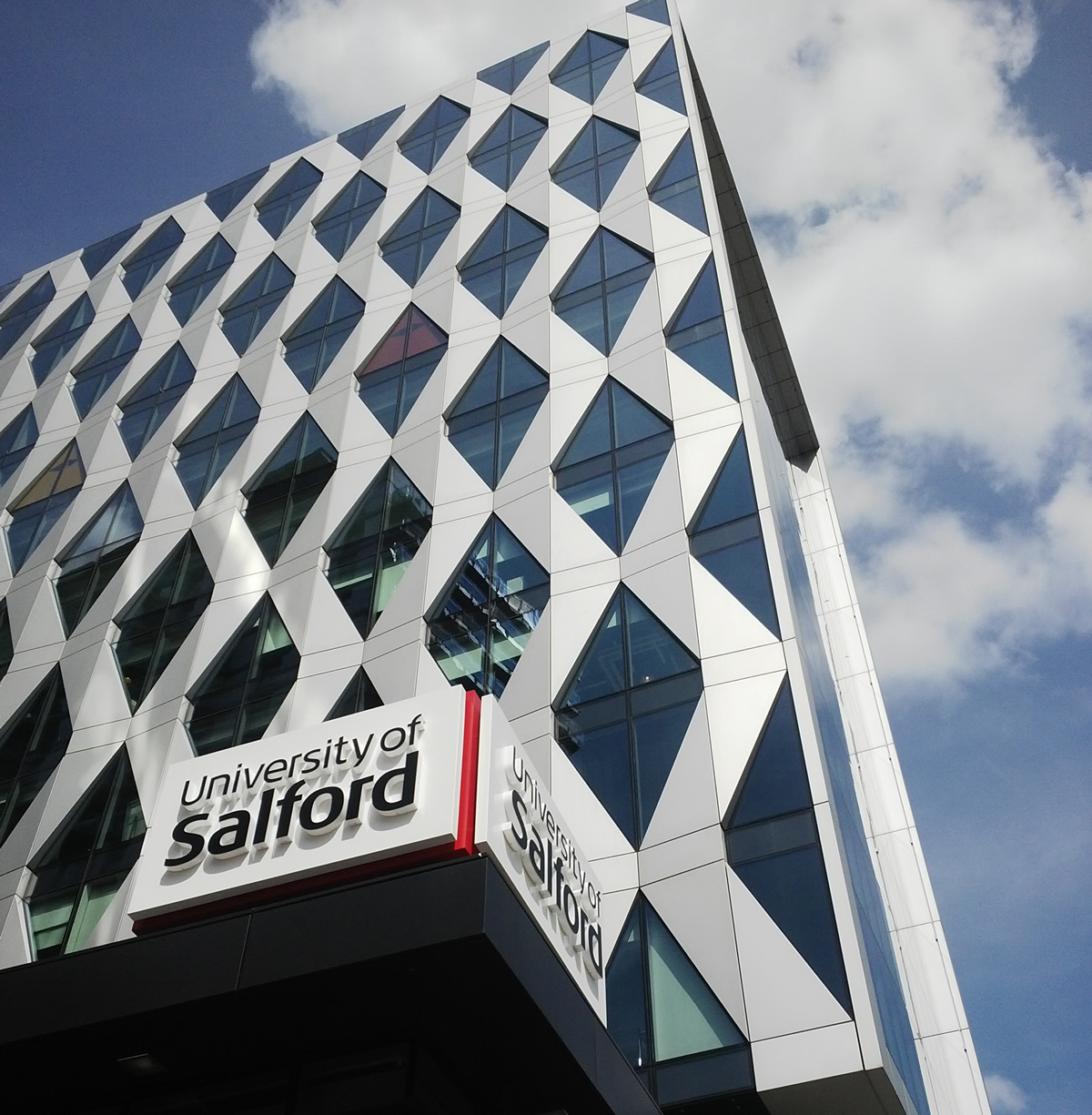 A shot of the University of Salford MediaCityUK building
