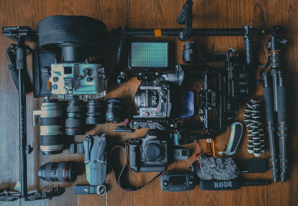 Camera equipment on a wooden floor