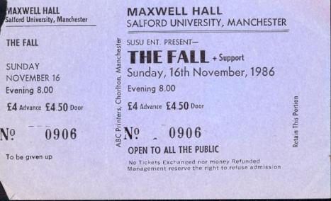 Image; The Fall gig ticket