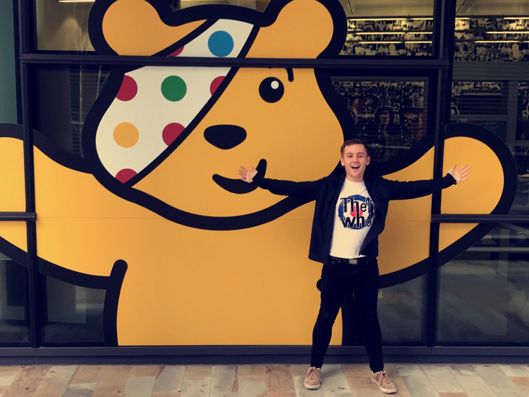 Image: Rhys and Pudsey Bear.