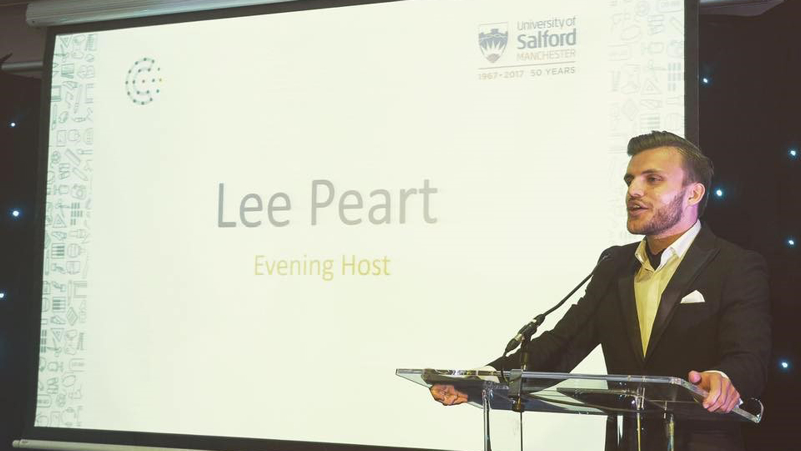 Image: Lee presenting the Create Awards