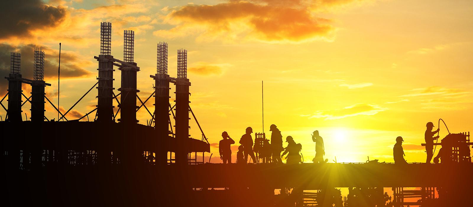 Image: Construction sunset