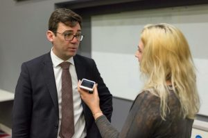 Image: Amber-Lilly interviewing Andy Burnham