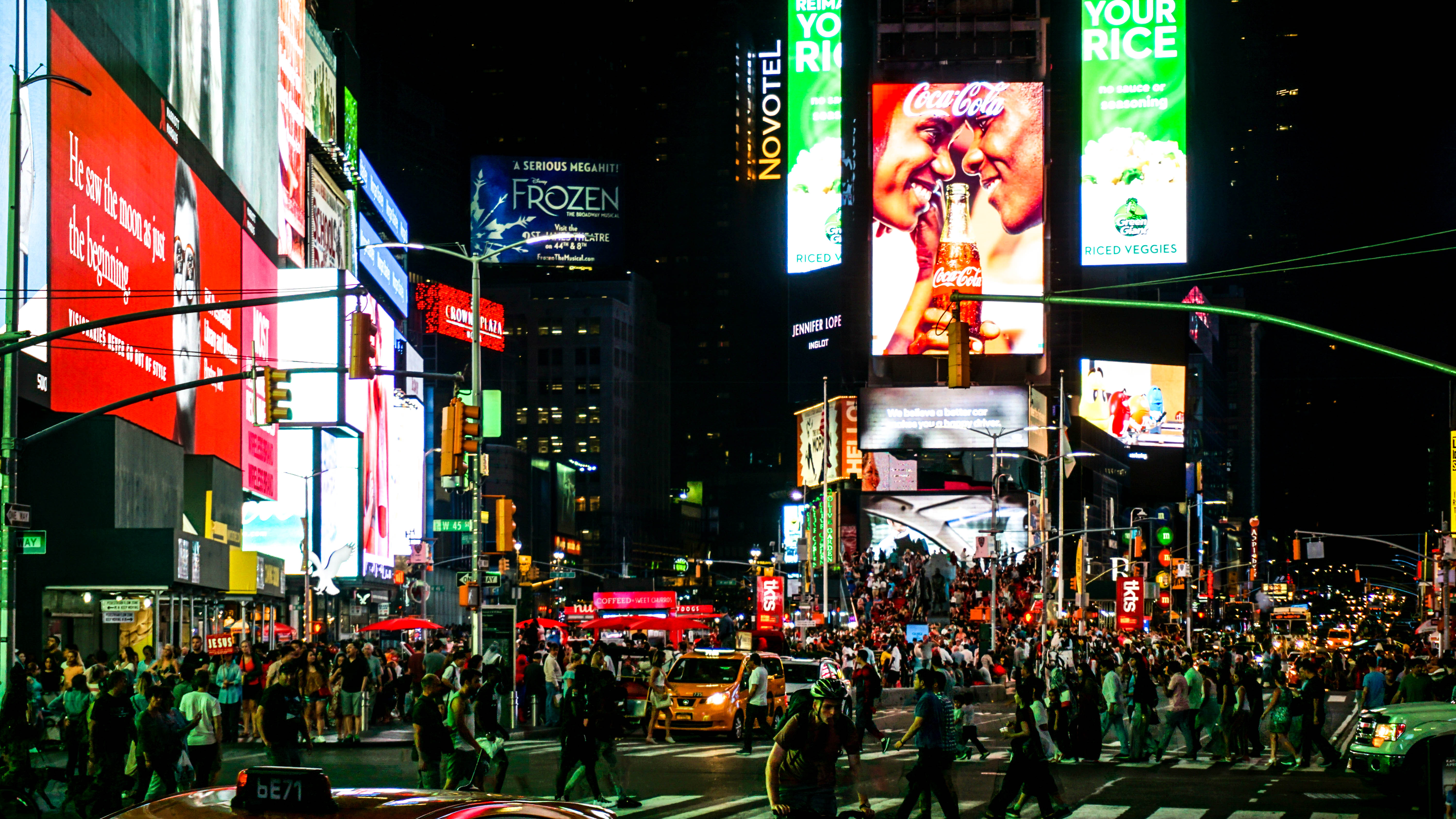Image: Time Square at night.