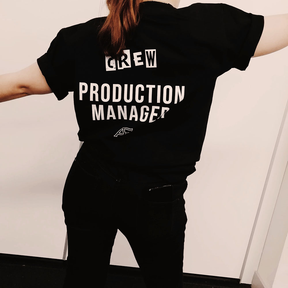 Me modelling my Almost Famous Theatre Company t-shirt that has 'Production Manager' printed on the back with the Almost Famous logo.