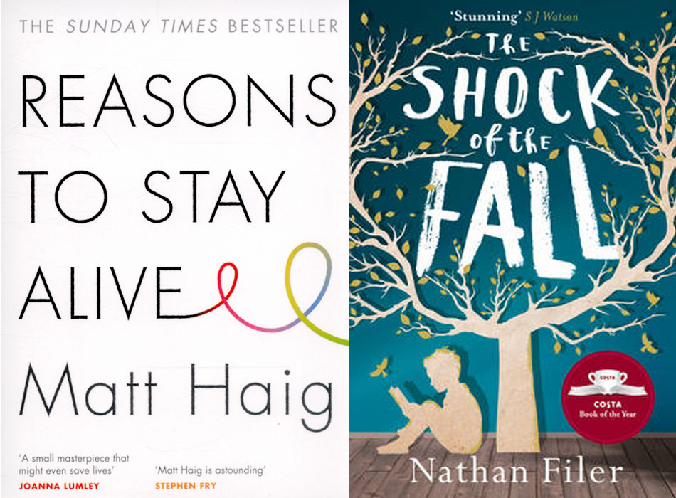Side by side covers of the books Reasons to Say Alive by Matt Haig (left) and The Shock of the Fall by Nathan Filer (right). The cover for Reasons to Stay Alive is white with quite simple black font however the font of the 'E' in 'Alive' goes off into a rainbow coloured swirl at the end. The cover for Shock of The Fall has a blue wallpaper and wooden floor background and in the foreground is a silhouette of a tree and small boy reading a book underneath it. The font of the title is white and looks handwritten or similar to crayon.