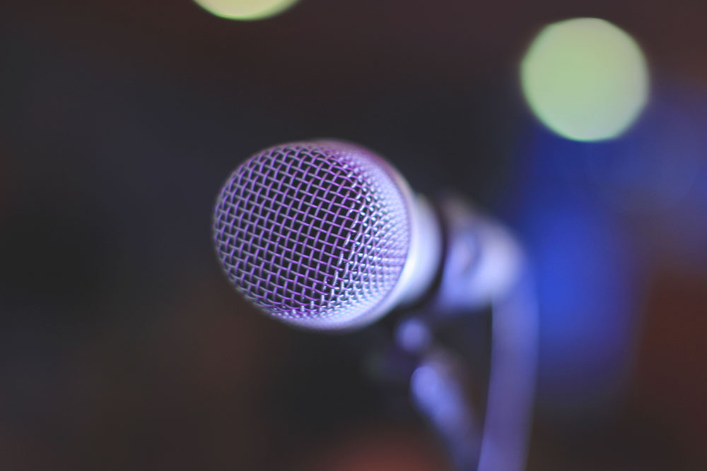 A photo of a microphone up close