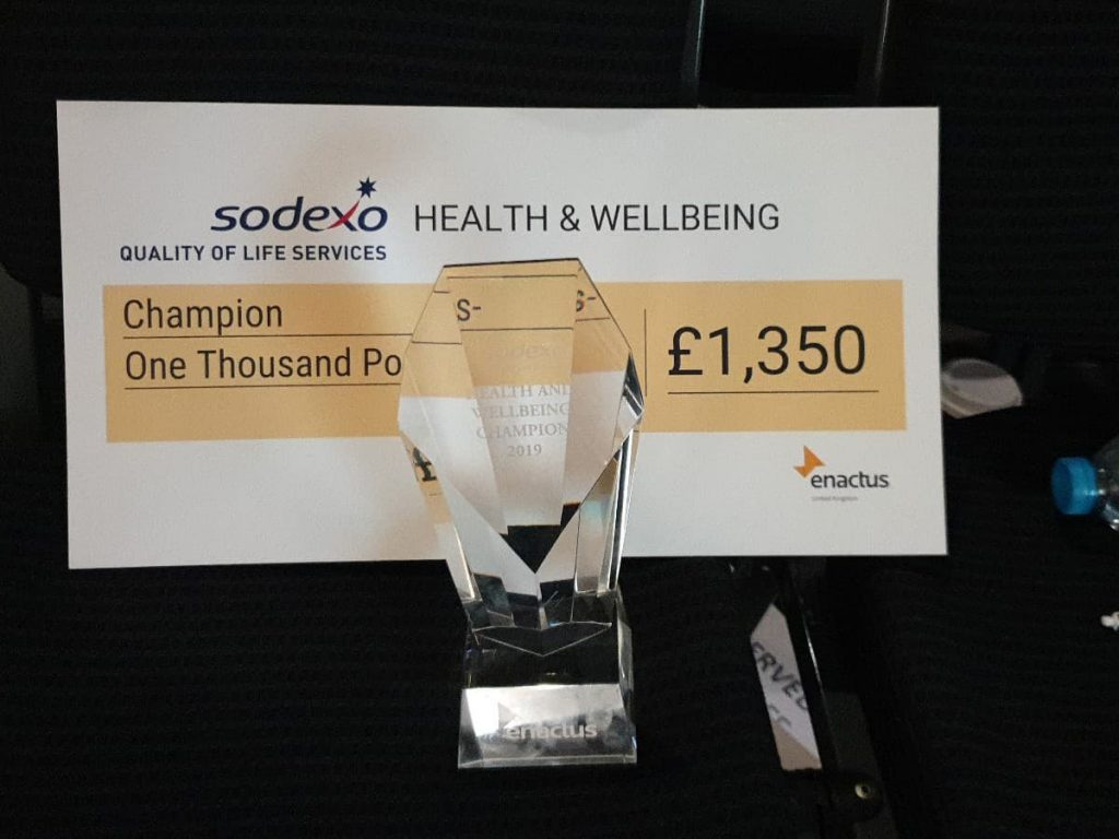 A certificate for the Sodexo Health and Wellbeing champion. With a cheque of £1,350 pounds. This certificate sits behind a transparent glass trophy.